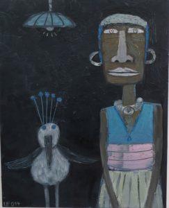 Frau mit Vogel, 2014, Öl auf Leinwand,100 auf 80 cm