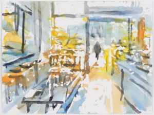 Moritz Hasse 2019A Berlin, Cafe in Mitte, Aquarell