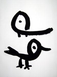 Eun Nim Ro, Vogelpaar, 69x51cm, Radierung auf Bütten, 2000, Blatt 90x70cm, Auflage 30, Nr.5 von30