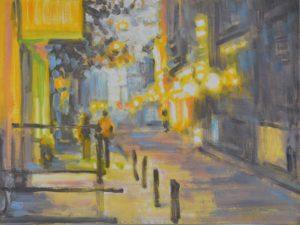 2020, Amsterdam, Seitenstraße, Oel, Acryl auf Papier 36x48cm,