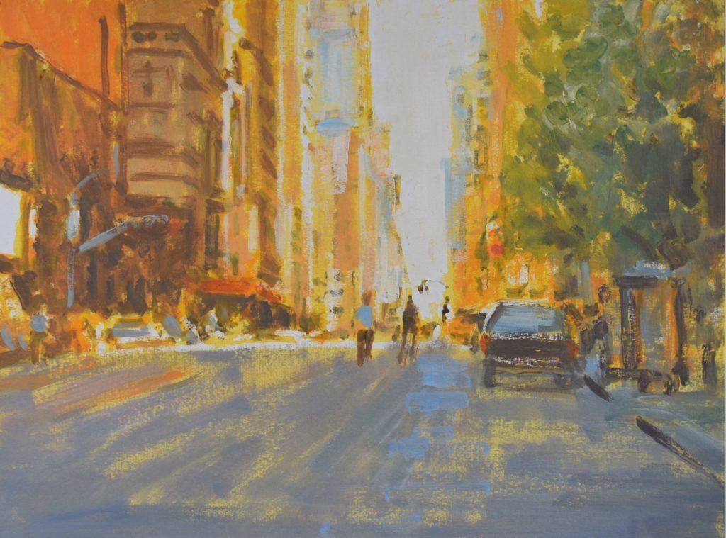 2020, New York, Abend, Oel, Acryl auf Papier, 36x48cm