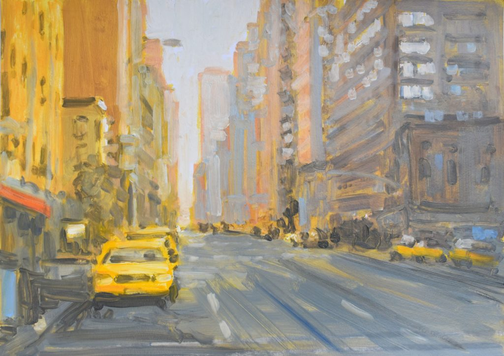 2020, New York, am Morgen, Oel, Acryl auf Papier, 50x70cm