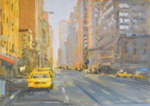 2020, New York, am Morgen, Oel, Acryl auf Papier, 50x70cm